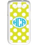 Circle Monogram Mustard Yellow and White Polka Dot Samsung Galaxy S3 Cas... - $15.95