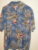 ENS HAWAIIAN TROPICAL CAMP SHIRT RAYON BLUE PALM FLOWERS CARIBBEAN JOE Sz M - $19.85