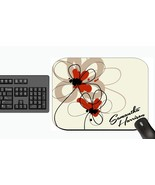 PERSONALIZED MOUSE PAD TAN FLORAL FLOWERS RED PRETTY - $12.72