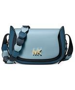 Michael Kors Jolene Klein Tri Farbe Sattel Leder Messenger Umhänge Blau Neu - $114.59