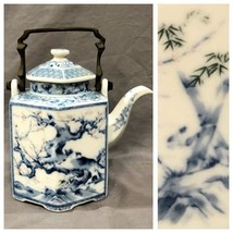 Vintage Blue White Asian Teapot Tree Floral Design Made In Japan - $49.49