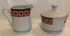 Windsor Gibson China Red Green Christmas Checked Sugar & Creamer Lot Unused image 2