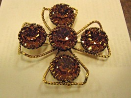 BROOCH marked FREIRICH large BROOCH large wine colored RHINESTONES - $64.35