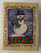 New Rubber Stampede Stamp HAPPY HOLIDAY SNOWMAN A3402D - $3.74