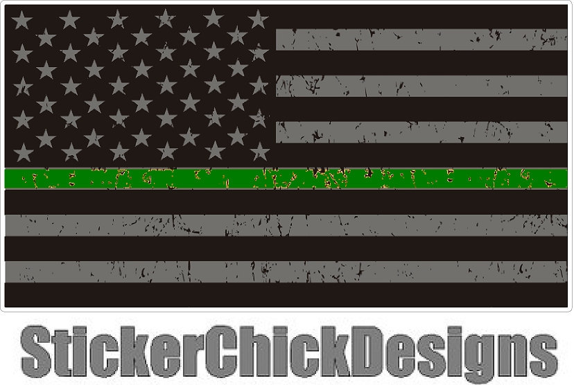 Thin GREEN Line 3x5.5 inch Flag decal. Vinyl Decal Car Window Bumper Sticker Yet
