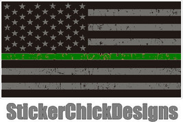 Thin GREEN Line 3x5.5 inch Flag decal. Vinyl Decal Car Window Bumper Sti... - $5.00