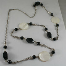 .925 RHODIUM SILVER NECKLACE, BLACK ONYX, MOTHER OF PEARL, FACETED SILVER BALLS image 5
