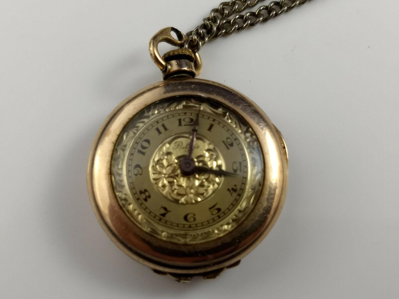 vtg WADSWORTH RELGIS HELBROS W & CO 15j 10k GOLD FILLED POCKET WATCH Swiss rare image 2