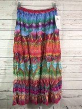 MAXI SKIRT COTTON NEW DIRECTION Multi Colored P... - $23.33