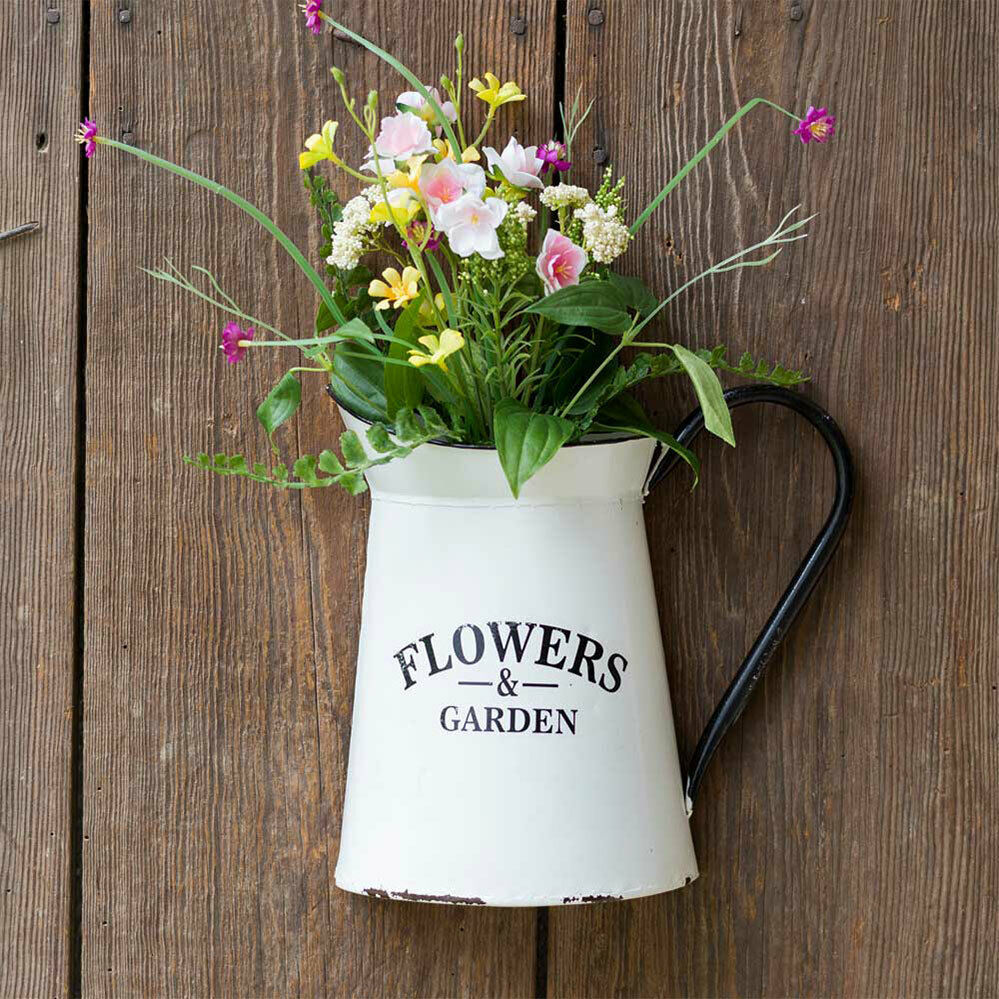 Primary image for Metal Wall Planter Half Pitcher Hanging Planter Outdoor Flower Pot White 9 x 10