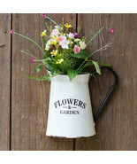 Metal Wall Planter Half Pitcher Hanging Planter Outdoor Flower Pot White... - $24.74