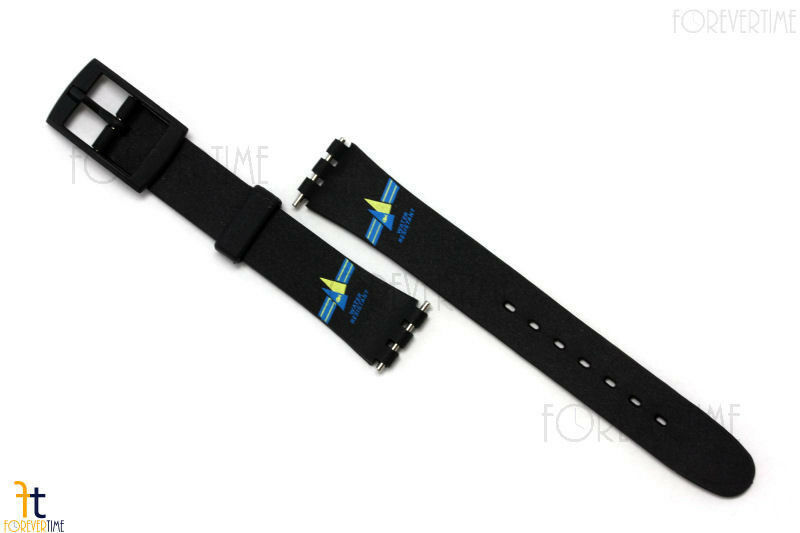 12mm Ladies Blue/Yellow Sailing Design Black Watch Band Strap fit SWATCH watches