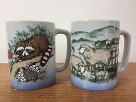 Pair of 2 Vtg Gibson Otagiri Japanese Stoneware Sheep Raccoon Coffee Mugs Cups - $29.59