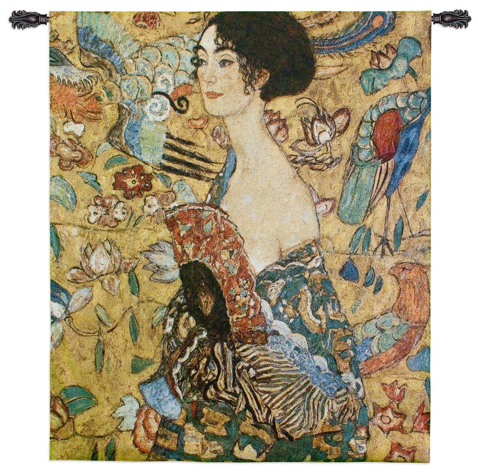 "Fine Art Tapestries ""Lady with Fan"" Wall Tapestry"