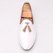 FERUCCI white custom-made Velvet Slippers loafers with brown  tassel dav... - $139.99