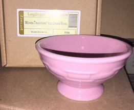 Longaberger Woven Traditions Pottery Ice Cream Bowl in Pink - NIB! - $18.86