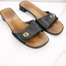 Coach Black Leather Turn Lock Sandals Slides Shoes Size 9 Womens - $16.38