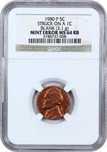 Mint Error: 1980-P 5c Struck on a 1c Blank NGC MS64 - Rare Mint Error - $509.25