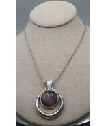 """SS Vintage KC 16""""-18"""" Necklace Silver Toned Teardrop Shape With Round Pu... - $4.41"""
