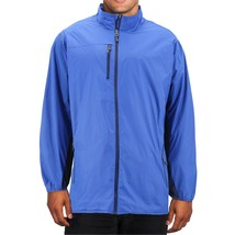 Men's Water Resistant Two Toned Windbreaker Zipper Nylon Rain Jacket image 2