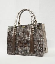 NWT Brahmin Small Camille Leather Satchel/Shoulder Bag in Brown Charente image 10