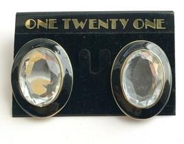 Large Clear Rhinestone Black Enamel Oval Pierced Earrings NOS Vintage Chunky  - $9.84