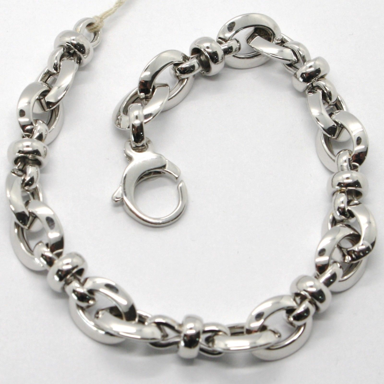 18K WHITE GOLD BRACELET ALTERNATE OVAL, ROLO, INFINITE LINK, MADE IN ITALY