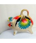 """Pottery Piggy Bank Hand Painted Mexico Vintage Bright Flowers 7"""" Nose to... - $18.81"""