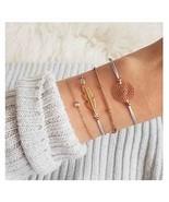 Olbye Layering Leaf Bracelet Flower Charm Hand Chain Bracelet Everyday J... - $6.42