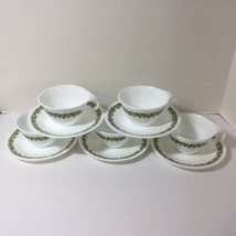 5 Cups and Saucers Corning Ware Corelle Vtg Green Crazy Daisy Hook Handles  - $29.02