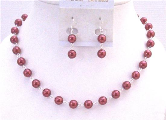 Red Pearl Necklace Set Silver Plated Chain Bridal Wedding Affordable B