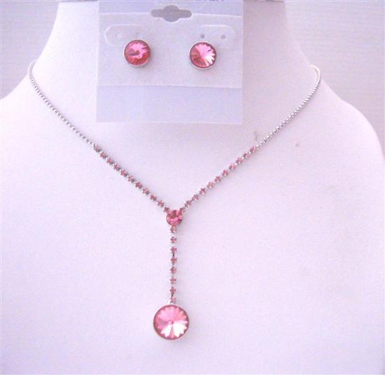 Fuschia Pink Crystal Drop Down Necklace w/ Fuschia Crystal Stud Earrin
