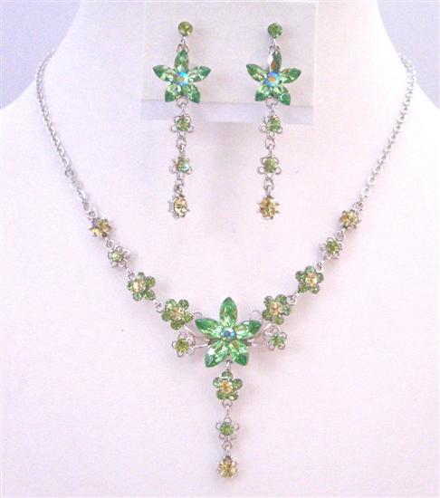 Peridot Crystals Necklace Set Evening Formal Party Flower Jewelry Gift