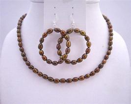 Metallic Brown Rice Freshwater Pearls Round Hoop Earrings Jewelry Set - $25.08