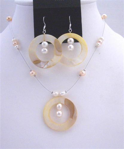 Shell Freshwater Pearl Necklace Set Round Shell Pendant & Sterling Sil