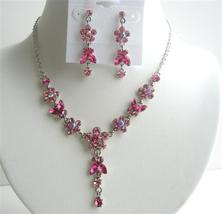Rose Pink & Fuchsia Crystals Flower Necklace Set w/ Dangling Flower - $34.18
