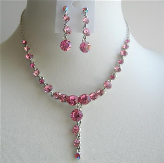 Vintage Necklace Set Adorned w/ Brilliant Fushcia Pink Crystals