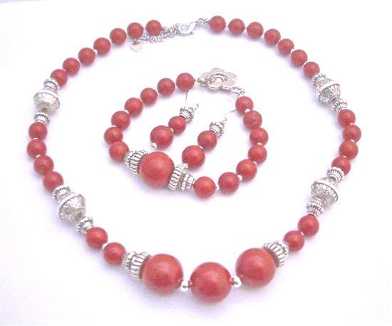 Coral Jewelry Set Ethnic Traditional Bali Silver Coral Round Beads Nec
