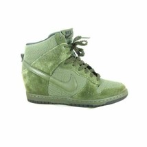 8 - Nike Olive Green Suede Contrast Dunk Sky Hi Essential Wedge Sneakers... - $75.00