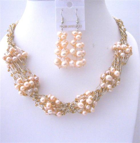 Handmade Peach FresshWater Pearl Necklace Earrings Sets Multi Stranded