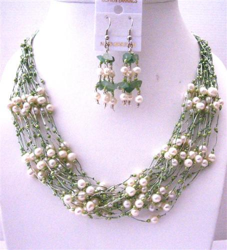 White Freshwater Pearl Green Glass Beads Jewelry Set Multi Stranded Ne