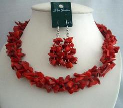 Simulated Semi Precious Coral Nuggets Beads Funky Jewelry Necklace Set - $28.98
