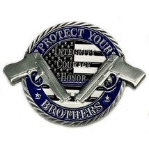 """3"""" POLICE BLUE LINE PROTECT YOUR BROTHERS CHECK YOUR 6 NCHALLENGE COIN - $28.49"""