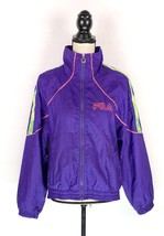 VTG Fila Purple Neon Stripe Jacket Size 8 Mock Zip Up Windbreaker Lightw... - $28.70