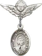 Sterling Silver Baby Badge St John Baptist de la Salle Charm Pin 7/8 X 3... - $59.54