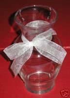 "Clear Glass Flower Vase Flared Mouth with White Translucent Ribbon Bow 7"" tall"
