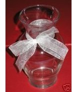 Clear Smooth Glass Vase with White Satin Ribbon... - $4.50