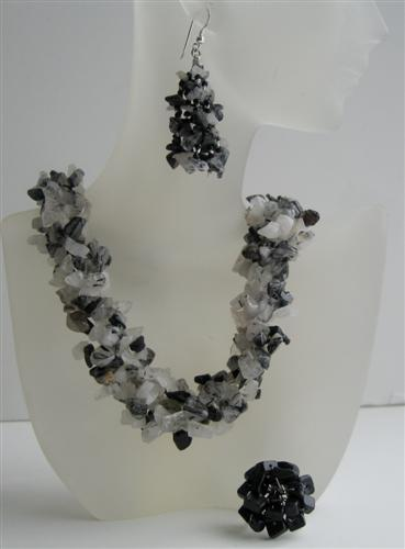 Black Onyx & White Opal Nugget Stone Chips Handcrafte Necklace Earring
