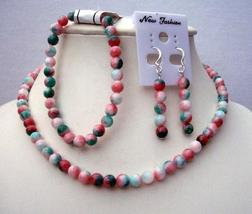 Handcrafted Custom Jewelry Simulated Fancy Agate Bead Necklace Stretch - $30.93