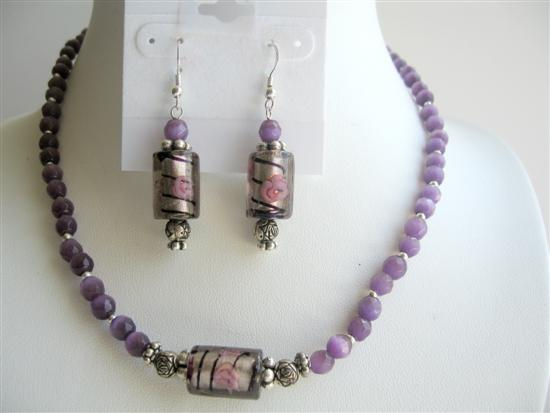 Venetian Glass Beads Handcrafted Jewelry Amethyst Cat Eye Necklace Set